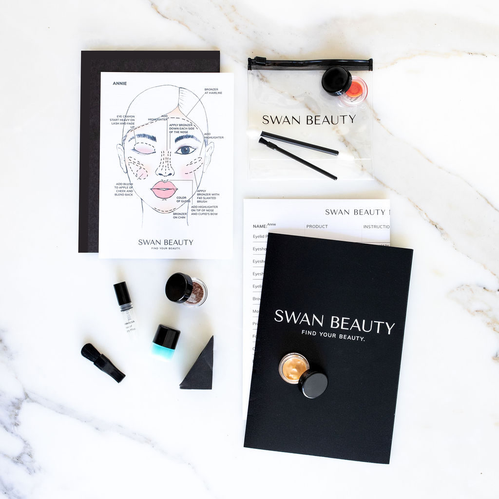 Some example items that come in a Swan Beauty box: Trial size of products, personalized instruction sheet for applying makeup, personalized diagram of a face demonstrating correct makeup application.